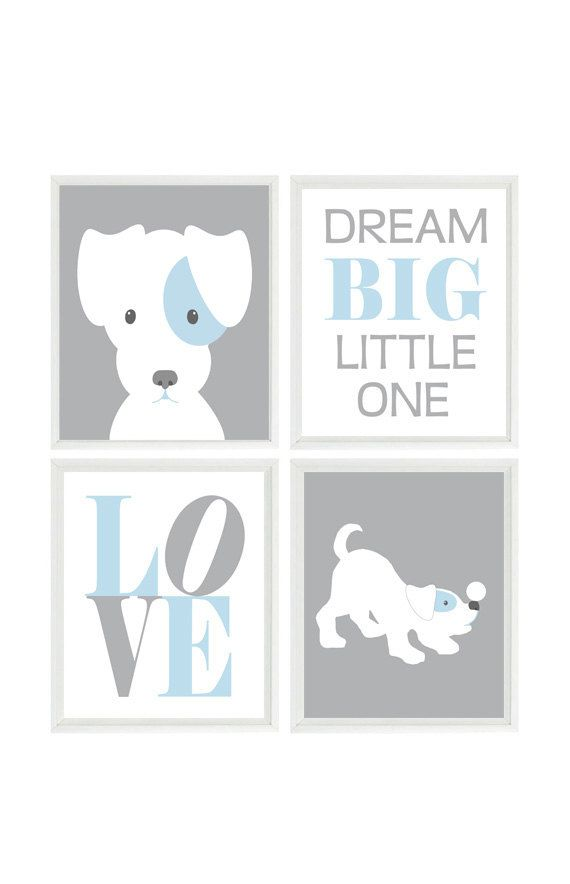 Puppy Nursery Art, Dog Wall Art, Dream Big Little One Quote, Love Print, Baby Boy Nursery, Baby Blue, Gray, Dog Nursery Theme, Boy Room