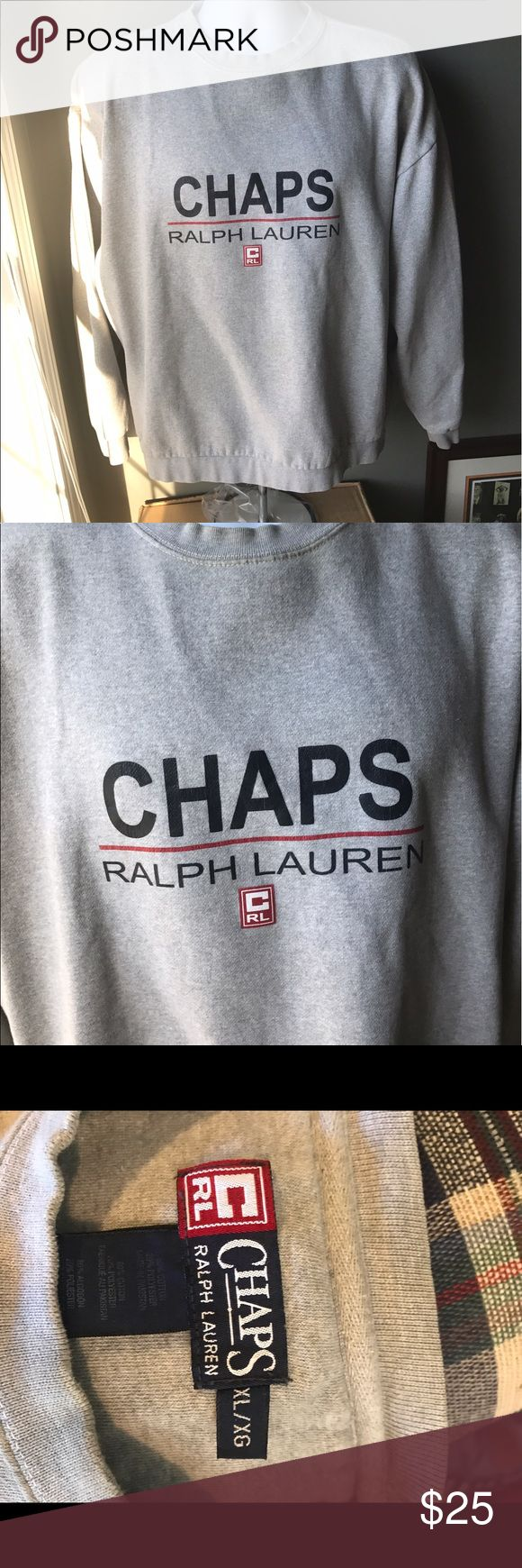 Vintage Chaps Ralph Lauren sweatshirt spelled out Very nice sweatshirt by Chaps RL. Small stain on front collar, not noticeable unless up close. Fits XL. chaps ralph lauren Sweaters Crewneck