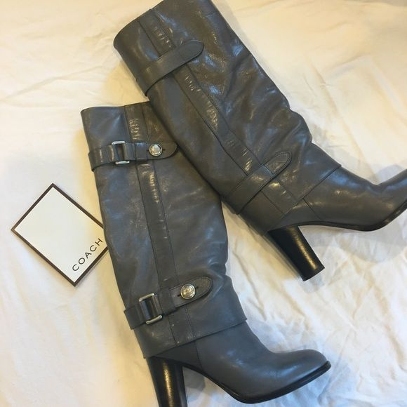 Coach Grey Leather Boots Grey leather boots from Coach. Only wear is on the bottom, amazing condition. Coach Shoes Heeled Boots