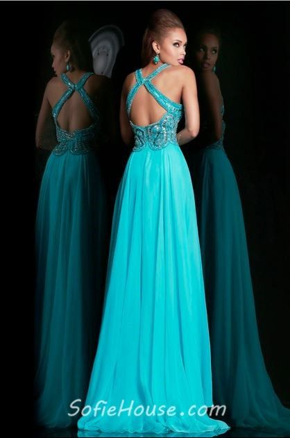 open back bridsmaid dresses | ... Open Back Long Turquoise Chiffon Beaded Prom Dress With Straps