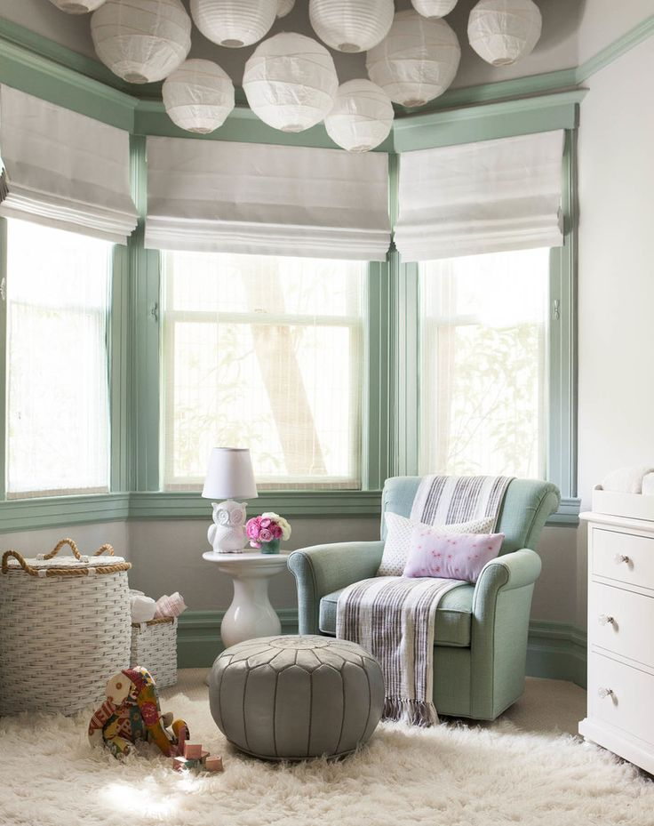 Bewitching Wicker Elephant Hamper Decor Ideas in Nursery Transitional design ideas with Bewitching bay window gray pouf green armchair green trim owl lamp paper lanterns