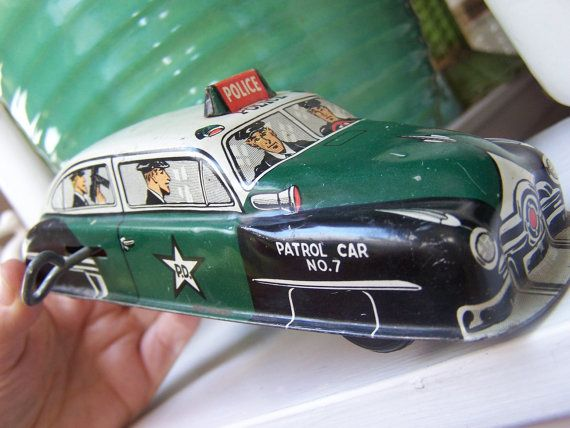 All Original Vintage Rochester Police Car Very Rare: Reserved For Mark Hellman 1950 Lupor Tin Wind Up Police
