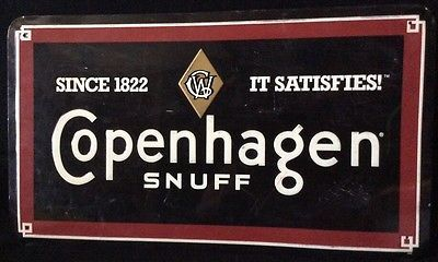 Distressed Metal Copenhagen Snuff Tobacco Sign 21x12 Since 1822 It Satisfies | eBay
