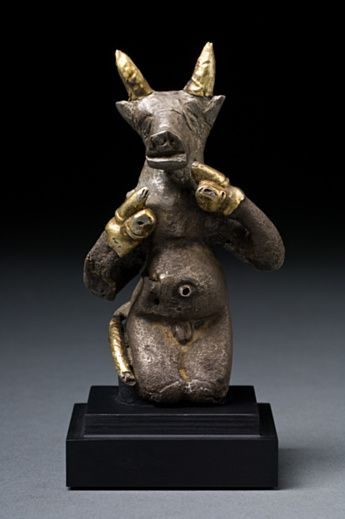 Anthropomorphic Bull,  Ancient Near East 2200 BCE.  Silver, gold sheeting