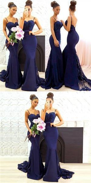Mermaid Spaghetti Straps Lace&Satin Navy Blue Long Cheap Bridesmaid Dresses Online, QB0012