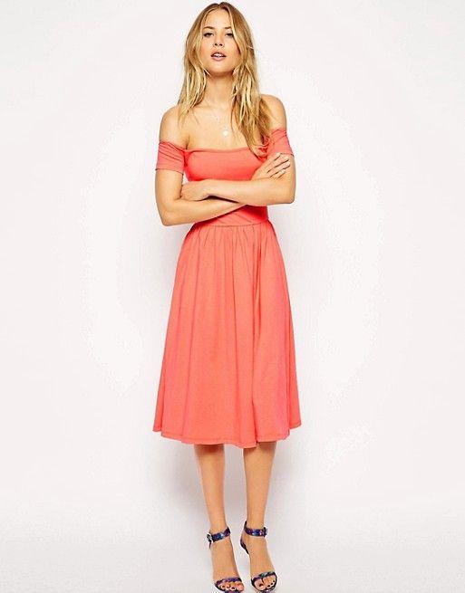 ASOS | ASOS Midi Bardot Skater Dress