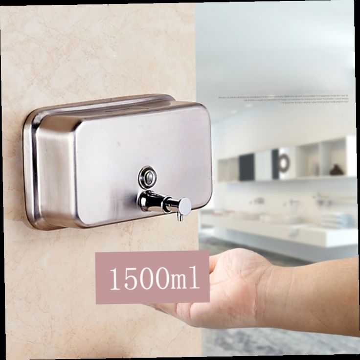 43.47$  Watch now - http://aliq04.worldwells.pw/go.php?t=32702781669 - Free Shipping Stainless Steel 1500ml Liquid Bathroom Kitchen Soap Dispenser Wall Mounted Distributeur De Savon Liquide 43.47$