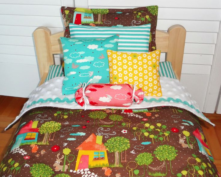 "Houses and trees, brown and aqua - Doll bedding set for AG dolls, Bitty Twin, Bitty baby and Waldorf dolls up to 15 inches - The bed in pic is an IKEA bed and measures actually 14"" x 20"".  The bedding set also fits the American Girl doll beds - by #mylittlepoppyseed on #etsy - Visit and like my Facebook page and my Etsy shop - Bienvenue dans ma boutique!  https://www.facebook.com/MyLittlePoppySeedCreations  https://www.etsy.com/ca/shop/mylittlepoppyseed"