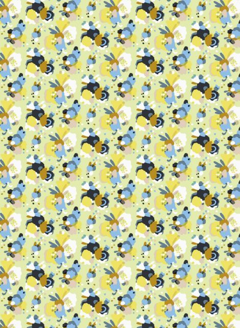 Marie heavyweight cotton (l.green, yellow, blue) | Fabrics, Cottons | Marimekko