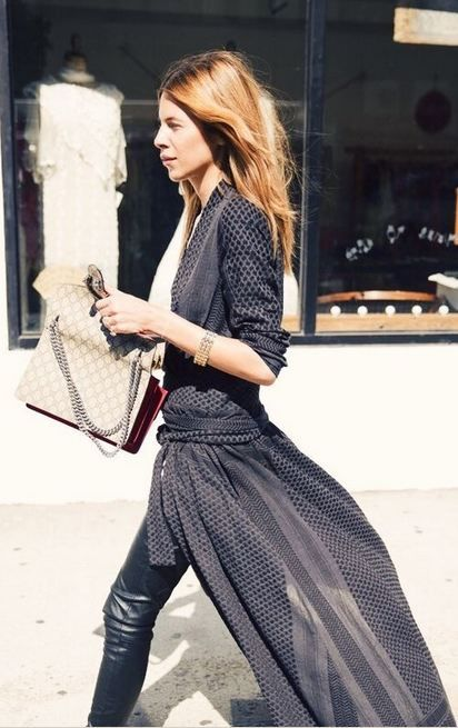 sheer dress + leather leggings...