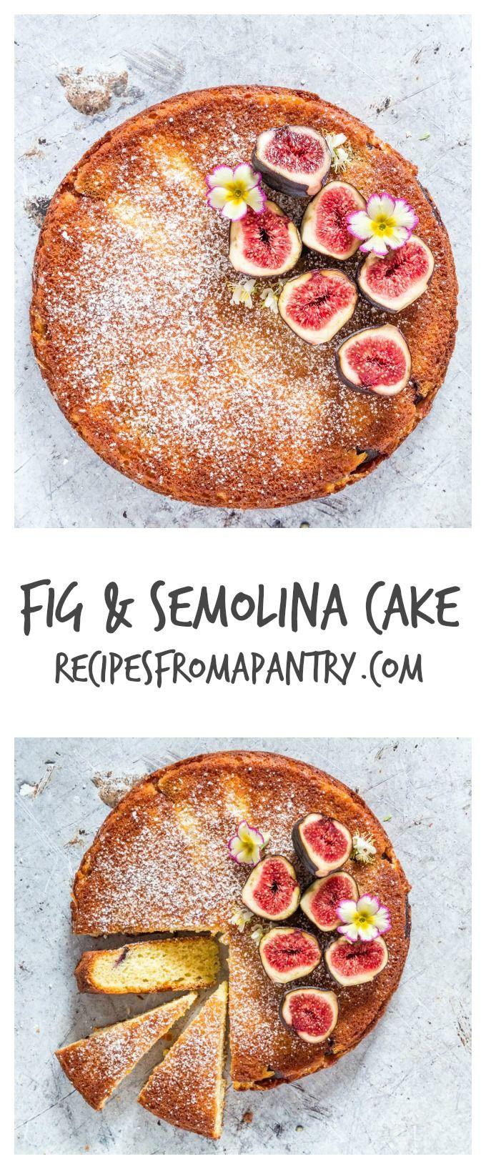 Fig And Semolina Cake - This gorgeous Greek yoghurt, fig and semolina cake recipe has a simple and stunning presentation.   recipesfromapantry.com