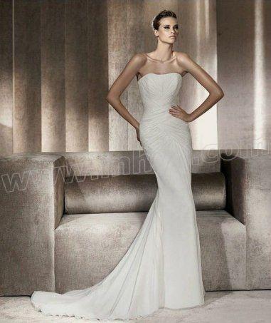 Chiffon Mermaid Strapless Softly Curved Neckline Gathered Bodice Wedding Dress