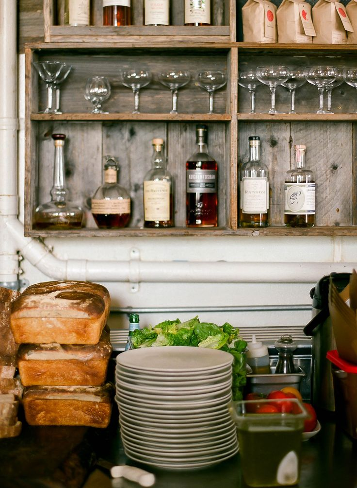 shallow boxed shelving - Outerlands - San Francisco - love the simplicity of this