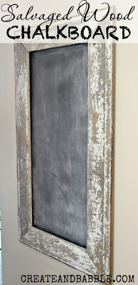 How cool does this wood chalkboard look? It's easy to make using an old frame, plywood, and chalkboard paint.  Get the tutorial at Create and Babble.