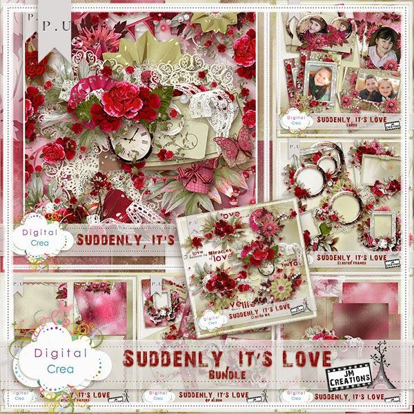 """Scrapbooking im Rollinest: """"SUDDENLY IT'S LOVE"""" Collection und Freebie by J&MCreations"""