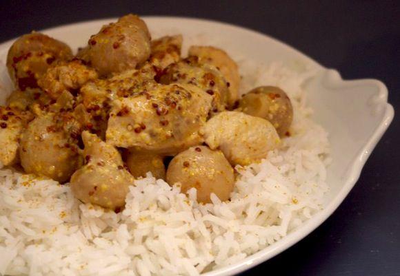 poulet moutarde ancienne curry champignons Un plat oublié   Poulet moutarde à lancienne, curry et champignons