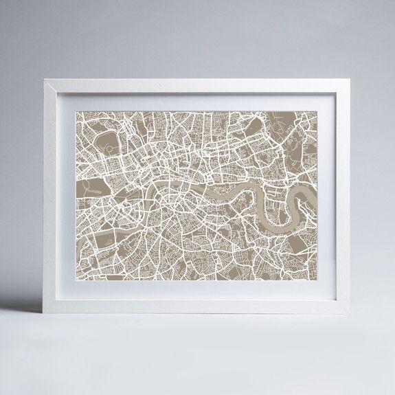 artPause - Citymap - Taupe - Framed print