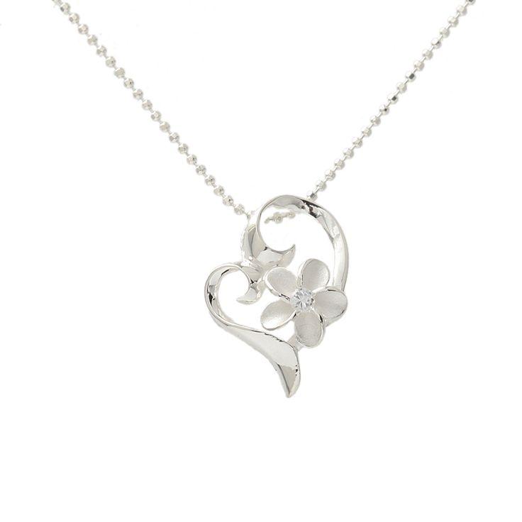Hawaiian Jewelry 8mm Plumeria Heart Pendant - Makani Hawaii,Hawaiian Heirloom Jewelry Wholesaler and Manufacturer