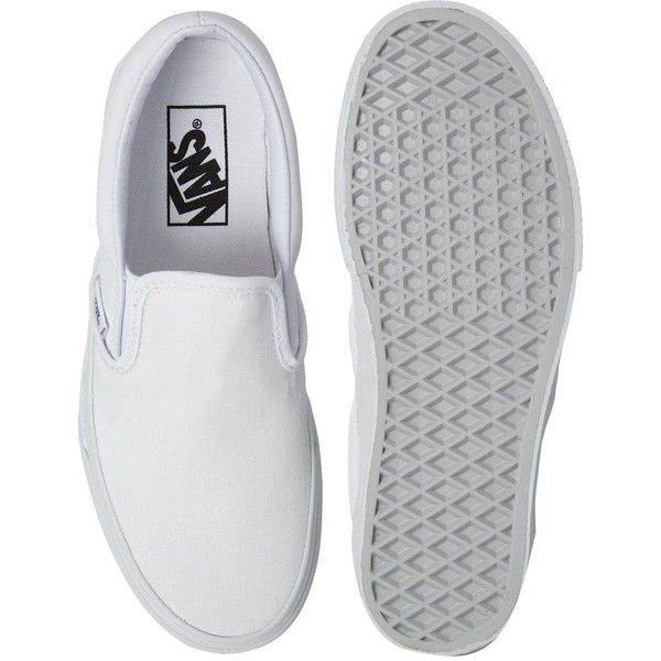 Vans True White Classic Slip On Trainers ($68) ❤ liked on Polyvore featuring shoes, sneakers, vans, flats, slipon shoes, vans trainers, waffle shoes, slip on flats and white slip on shoes