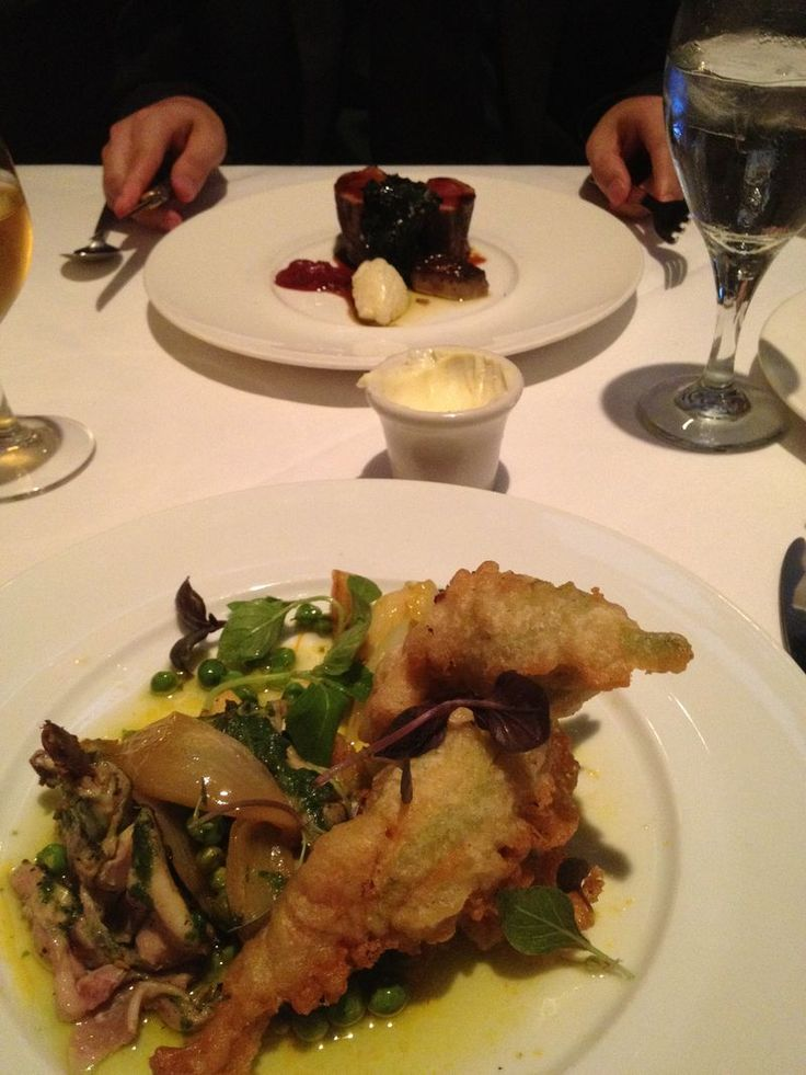 Poussin with Tempura-Battered, Spicy Ricotta Stuffed Squash Blossoms - Restaurant August, New Orleans, LA