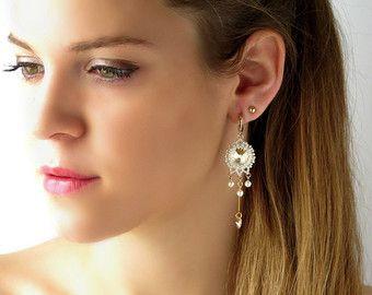 Araña de novia pendientes, pendientes de novia perla, pendiente de Champagne, largos pendientes de perlas, pendientes de novia oro, perla y cristal Pendientes