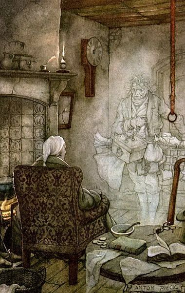 Scrooge meets Marley's ghost in Charles Dickens's A Christmas Carol.  Illustration is by Anton Pieck
