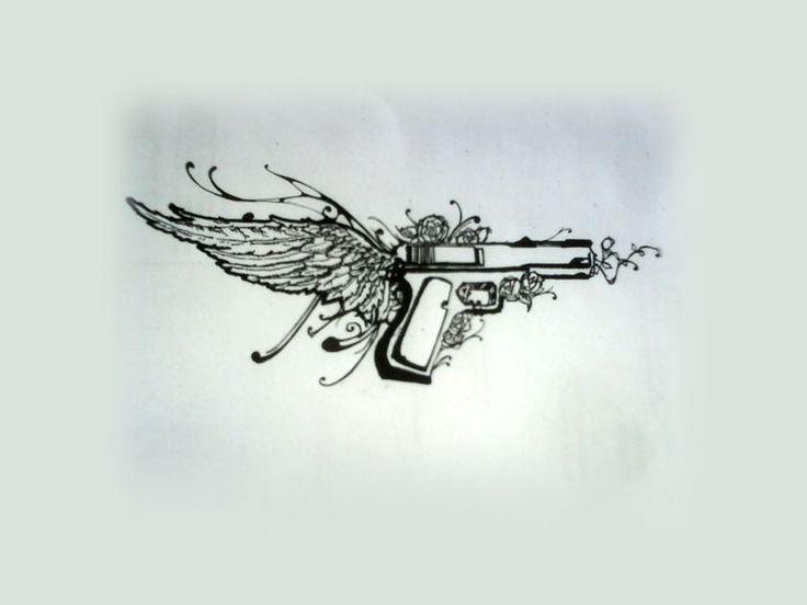 pistol tattoos | Free designs - Pistol on wing tattoo wallpaper
