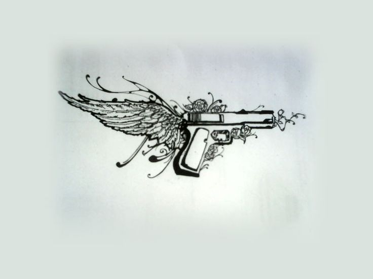 pistol tattoos | Free designs - Pistol on wing tattoo wallpaper