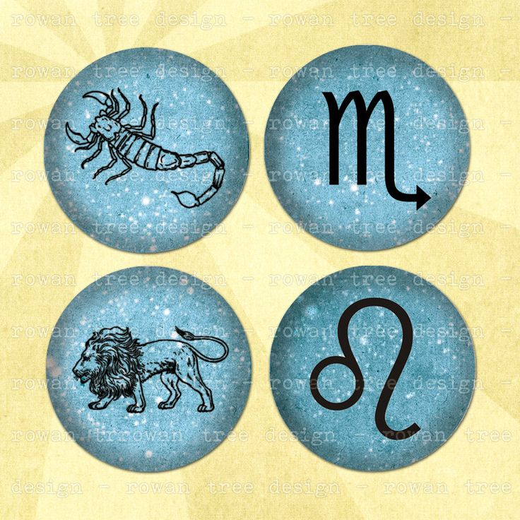 Digital Collage Sheet THE ZODIAC 1.5in or 1in Circles Astrological Symbols - no. 0117 by rowantreedesign on Etsy