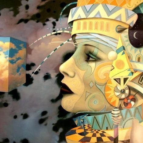 """There are a dozen #views about everything until you know the #answer. Then there's never more than one."" ― C.S. Lewis ❇  Setowski  #surreal #surrealart #surrealism #art #creativity #instaart #painting #symbolism #magical #realism #geometric #woman #gold #yellow #contour #profile #view #research"