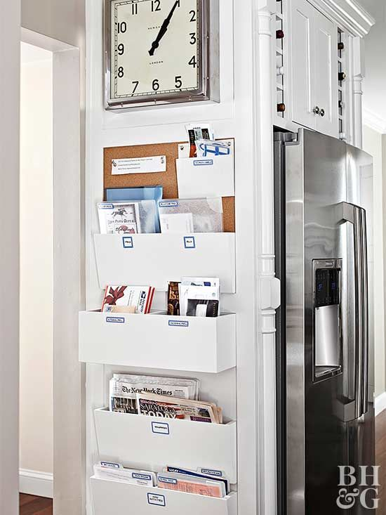 Turn a sliver of wall into a household command center. Install shallow built-ins and a bulletin board that provide extra storage without taking up an inch of floor space.