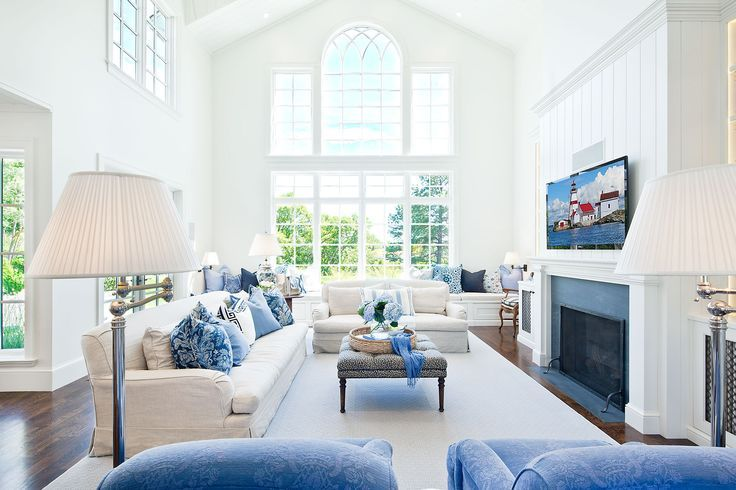blue and white living room living room pinterest