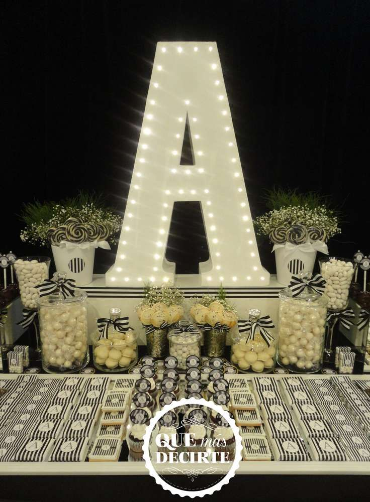 Glam black and white Quinceañera birthday party! See more party ideas at CatchMyParty.com!