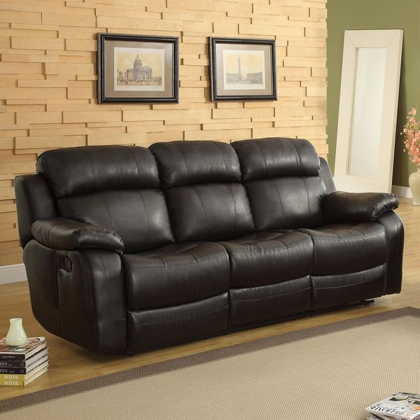 Modern Sofa TRIBECCA HOME Eland Black Recliner Drop Down Cupholder Sofa