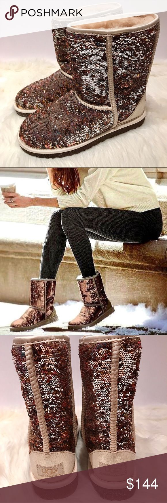 NIB UGG Classic Short Sparkles Boots Size 7 NIB UGG Classic Short Sparkles Boots Size 7  The official color of these boots is champagne. However, the colors change from gold to bronze to champagne depending on how the sequins catch the light. These multi-tonal beauties add a touch of glam with the comfort of the UGGS we all know and love. No trades but offers are welcome. I video record the packaging and shipping of my items to protect both the customer and myself. UGG Shoes Ankle Boots…
