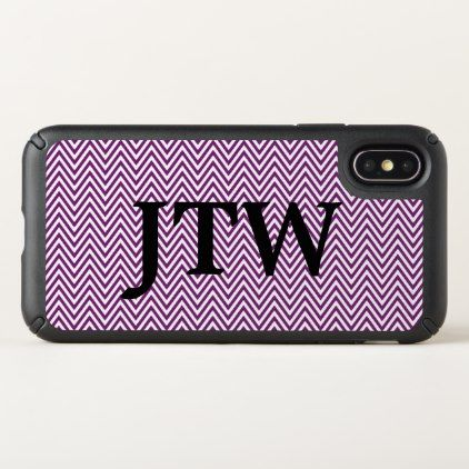 Custom Monogrammed White and Purple Chevron - patterns pattern special unique design gift idea diy