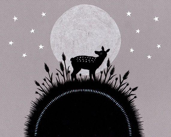 Lever de la lune 8 X 10 pouces Cut Paper Art Print par ruralpearl