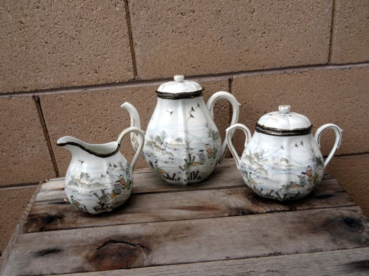 Vintage Kutani Tea Set, Asian Tea Set, Pot Belly Teapot, Creamer And Sugar Bowl, Cranes, Family Fishing Outside A Village by TiesofMyFather on Etsy
