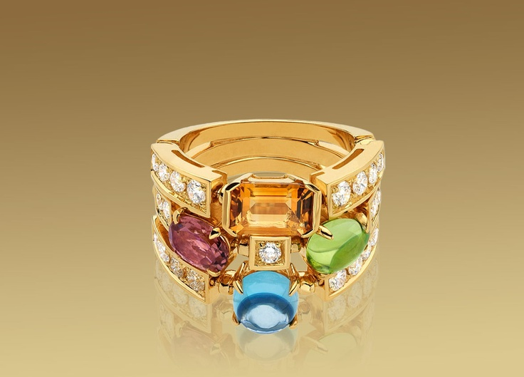 bulgari color collection ring in yellow gold with coloured gemstones and pav diamonds