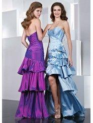 Taffeta Modified Sweetheart Side Draped Bodice Long Prom Dress