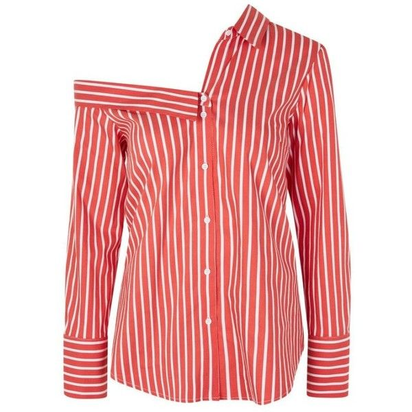 Women's Topshop Stripe Off The Shoulder Top ($55) ❤ liked on Polyvore featuring tops, blouses, red striped top, striped top, red off shoulder top, asymmetrical tops and red top
