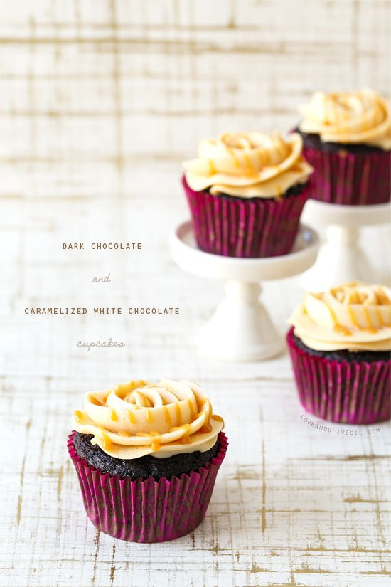 If you've never had caramelized white chocolate, you MUST remedy that immediately. And these Dark Chocolate and Caramelized White Chocolate Cupcakes are the perfect way to do it.