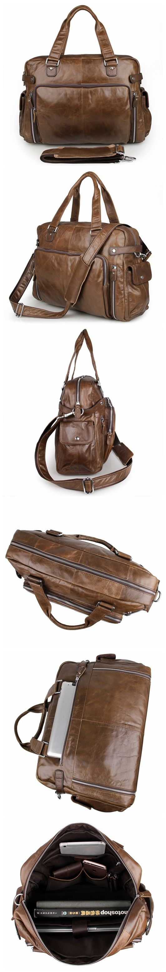 100% Genuine Leather Chocolate Unisex Handbags Laptop Bag Large Size