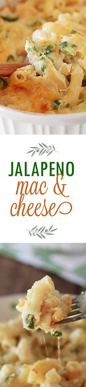 Jalapeno Mac & Cheese recipe - Generously flecked with jalapeno peppers, this ooey gooey baked mac and cheese packs a good dose of nice, smoky heat.