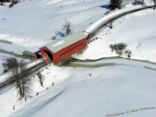 Red Covered Bridge in winter near Wakefield, Quebec (Within driving distance of Ottawa, Canada's capital)
