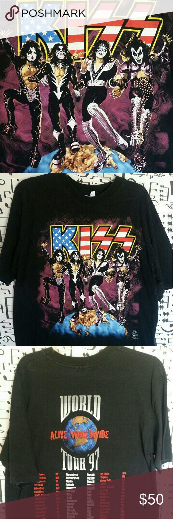 KISS Vintage Rock Tshirt KISS World Tour 1997 Great Condition! Size XL Shirts Tees - Short Sleeve