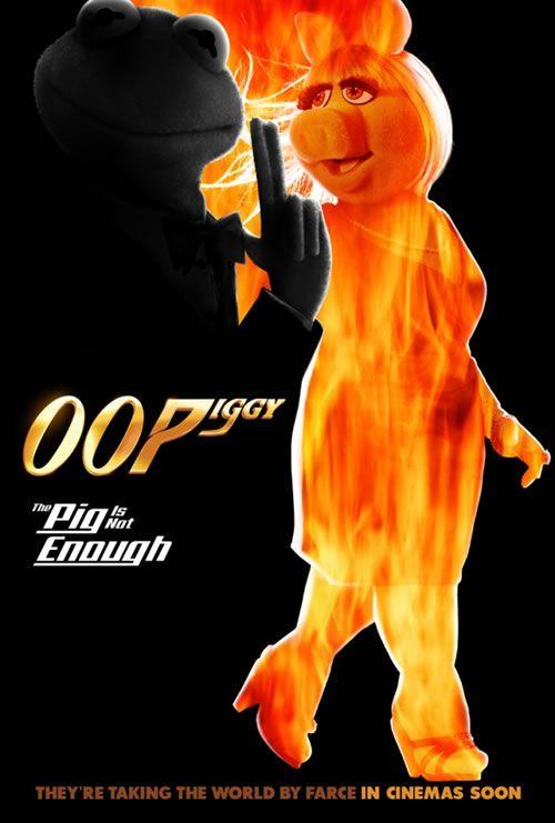 .Muppets! Miss Piggy and Kermit as James Bond.