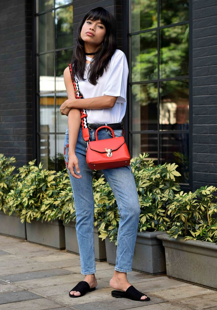 accessorize gold toned hoop earrings // amazon choker // asos t-shirt with one shoulder and nibble detail // asos leather boyfriend waist and hip belt // zara mid-rise jeans with floral embroidery // forever21 faux suede slides // zara crossbody bag with fastening detail