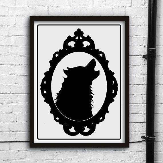 Printable digital artWolfman silhouetteHalloween by TrueNoire