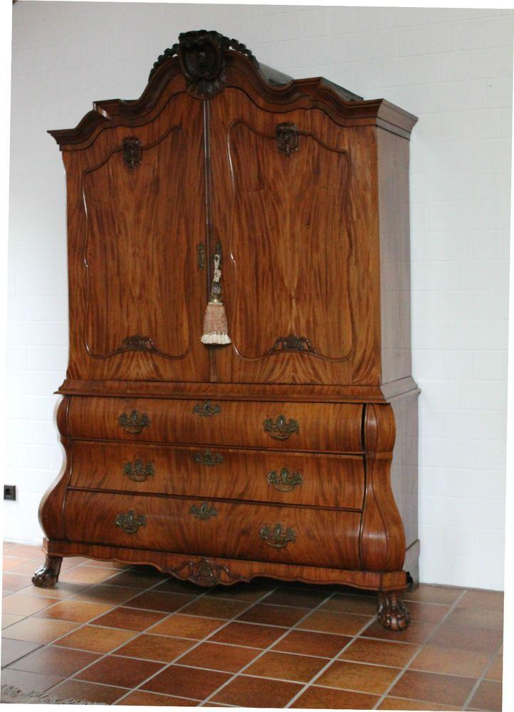 Schrank vitrine antik 1790 mahagoni nussbaum barock furniture interieur objects - Wandgestaltung antik ...